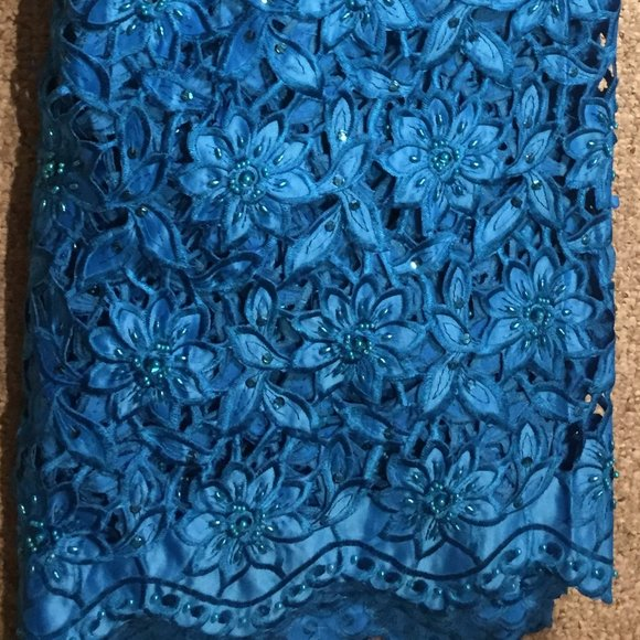 5 Yards Turquoise Blue Beaded Swiss Lace Fabric